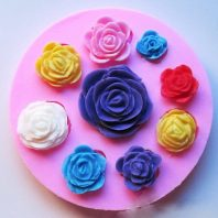 Multi Roses silicone mold for fondant or chocolate etc L001