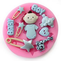 Baby Bear & Pins silicone mold for fondant or chocolate L004