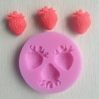 3 Strawberry silicone mold for fondant or chocolate or cake decoration L011