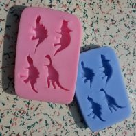 Multi dinosaur silicone mold for fondant or chocolate etc L122