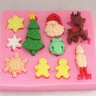 Christmas mould set silicone mold for fondant or chocolate etc L124