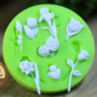 Multi Rose With Branches and Leaves silicone mold for fondant or chocolate or cake decoration L013