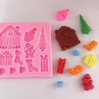 Christmas mould set silicone mold for fondant or chocolate etc L133