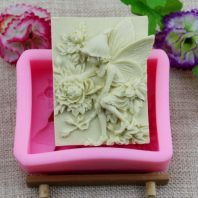 Angel and flowers silicone mold for hand made soap and crafts L145