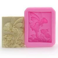 Angel and flowers silicone mold for hand made soap and crafts L154