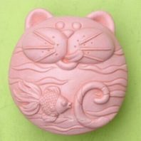 A fat cat and fish silicone mold for hand made soap and crafts L180