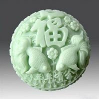 Chinese happieness and fish silicone mold for hand made soap and crafts L185