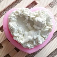 Little angel heart shape silicone mold for hand made soap and crafts L187