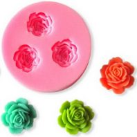 3 Multi Roses silicone mold for fondant or chocolate or cake decoration L019