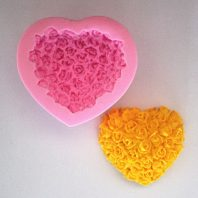 Heart-shaped Roses Bouquet Silicone Mold hand made soap L027