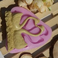 2 swan on flowers silicone mold for fondant DIY cake decoration L312