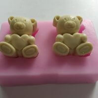 2 bears holding heart silicone mold for fondant DIY cake decoration L342