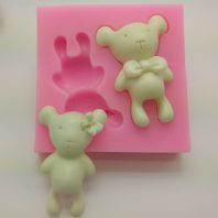 2 lovely bears silicone mold for fondant DIY cake decoration L354