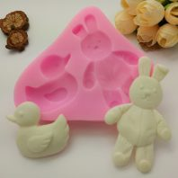 Rabbit and duck silicone mold for fondant DIY cake decoration L355