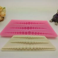 Symmetrical pearl string silicone mold for fondant DIY cake decoration L398