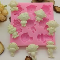 Multi monkeys silicone mold for fondant chocolate DIY cake decoration L445