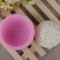 Round flower print soap silicone mold for handmade soap and crafts L473