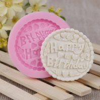 Round happy birthday silicone mold for fondant chocolate DIY cake decoration L475