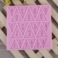 Triangular numbers silicone mold for fondant chocolate DIY cake decoration L487