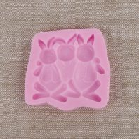 3 little rabbits silicone mold for fondant chocolate DIY cake decoration L488