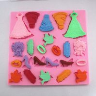 Gilrs Items Skirt Shoes Shape silicone mold for fondant or chocolate or cake decoration L063