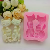 2 foxes silicone mold for fondant candy DIY cake decoration L649