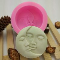 Two faces round silicone mold for hand made soap and crafts L676