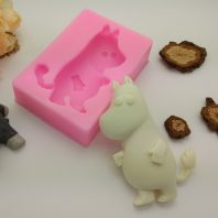 Standing hippo embossed silicone mold for fondant candy DIY cake decoration L682