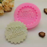 Happy birthday embossed silicone mold for fondant candy DIY cake decoration L684