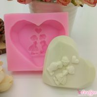 Kissing boy girl silicone mold for hand made soap and crafts L699