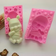 Tedy bear silicone mold for hand made soap and crafts L764