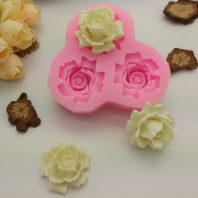 3 cavities nicole flowers silicone mold for fondant candy DIY cake decoration L833