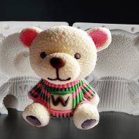 3D W bear silicone mold for fondant candy chocolate DIY cake LS10039