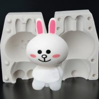 Cute smiling rabbit silicone mold for fondant candy chocolate DIY cake LS10042