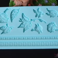 Leaves border silicone mold for fondant candy chocolate DIY cake LS10113