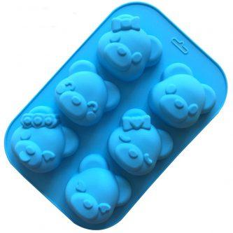 6 Cavities Cartoon Bears Silicone Mould Tray LMH007