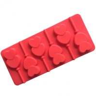 6 Cavities Double Heart Lollipop Silicone Mould Tray LMH016