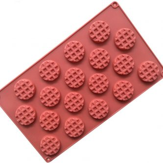 18 Cavities Waffle Biscuit Silicone Mould Tray LMH766