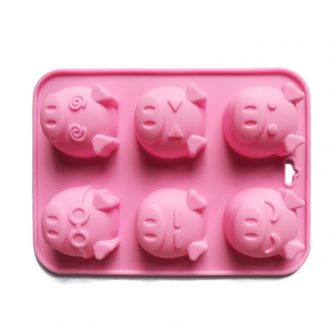6 Cavities Pigs Silicone Mould Tray LMH799